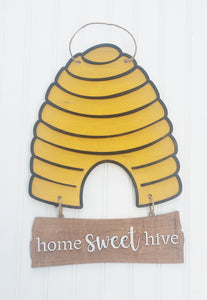 DIY bee hive door hanger