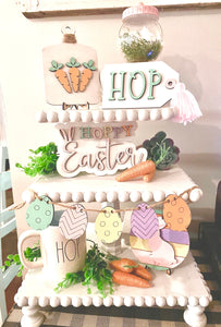 DIY Easter tiered tray/decor pieces