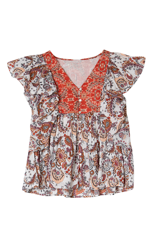 Printed Cotton Frill Top AO174-RedPrint