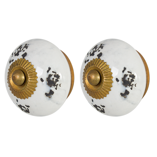 Hand Painted Ceramic Cabinet Knob - Ant White - 45mm 2pcs Pack CDK2430-AntWhite