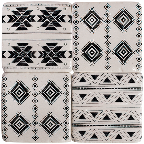 Resin Drink Coaster Set - set of 4- 10x10x1cm COS2628-Aztec