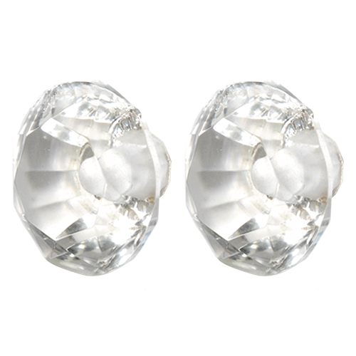 Faceted Clear Glass Door Knob - Midi 2pcs Pack