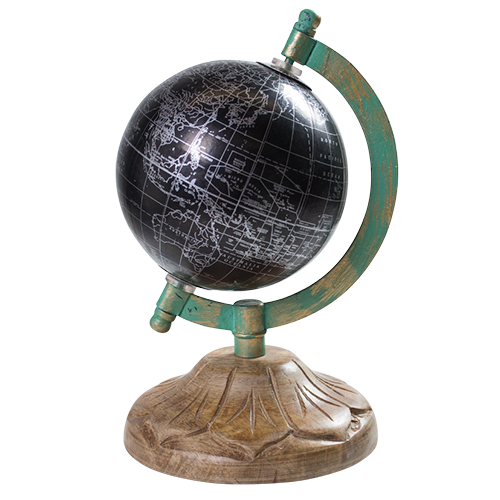 World Globe on Stand- 11x11x23cm GL1206-Black