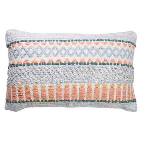 Woven Embellished Cushion 40x60cm - prefilled with insert LCC809-Peach