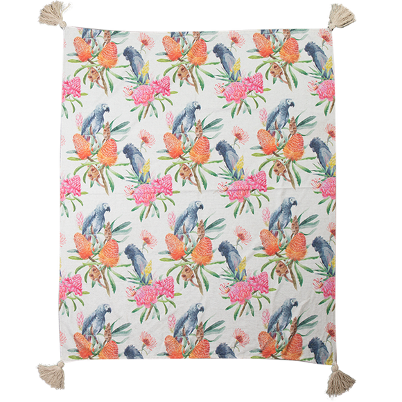 Chenille Cotton Print Throw 125x150cm TH0945-Cockatoo