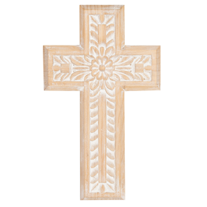 Carved Wood Wall Décor- Cross - 26x43cm WD104-Sierra