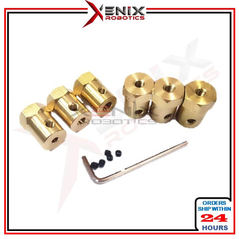Hex Brass DC Motor Wheel/Silicone Tyre Coupling Connector Copper Coupler 3mm 6mm 8mm
