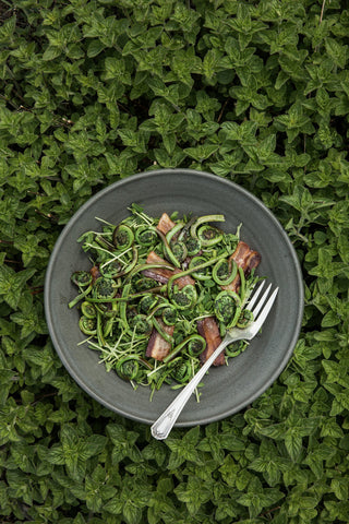A dish of fiddlehead ferns and bacon in a handmade ceramic bowl rests on a backdrop of dark green leaves