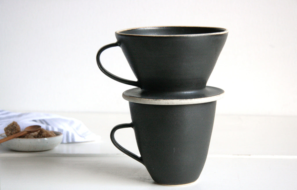 Pour Over Coffee in Satin Black Set Up