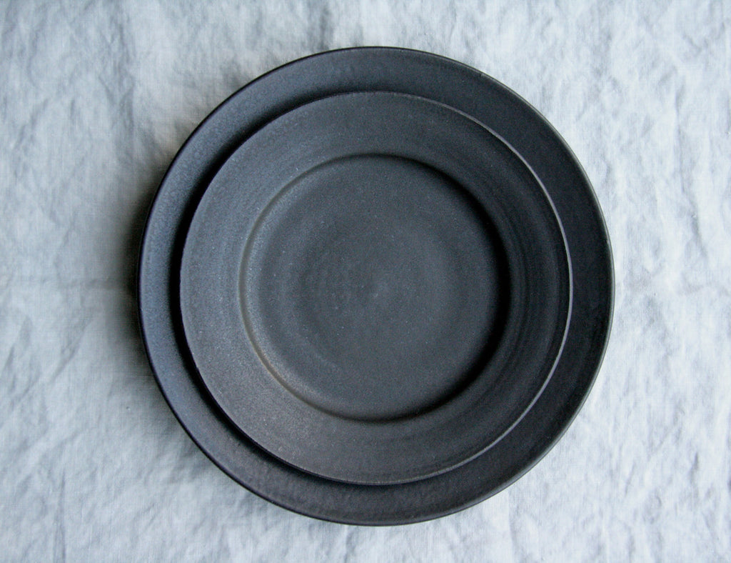 Farmhouse Satin Black Ceramic Plates