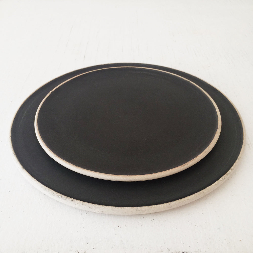 Satin Black Handmade Ceramic Plates