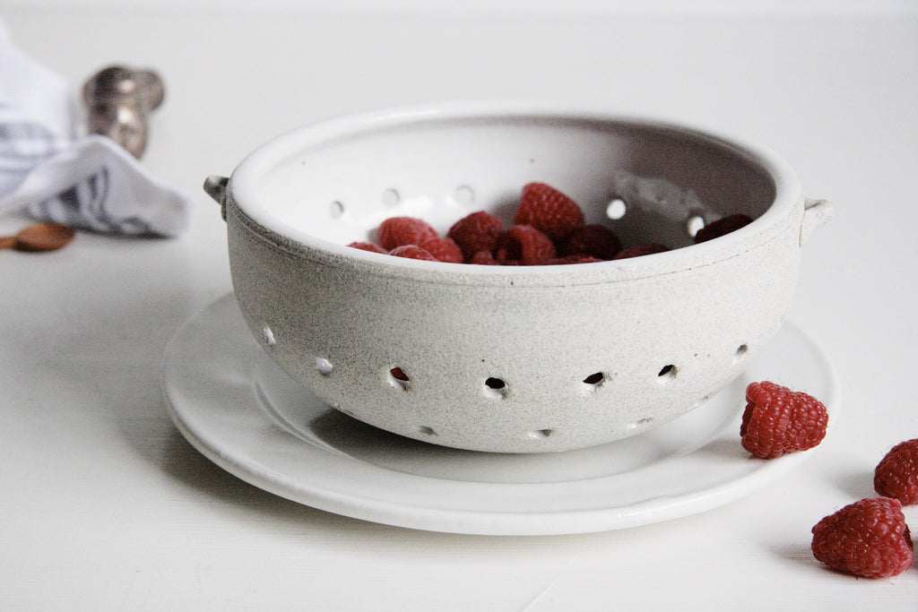 Handmade Ceramic Colander with Fruit