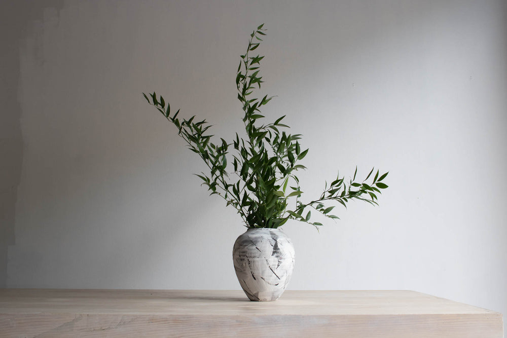 Black and White Handmade Vase