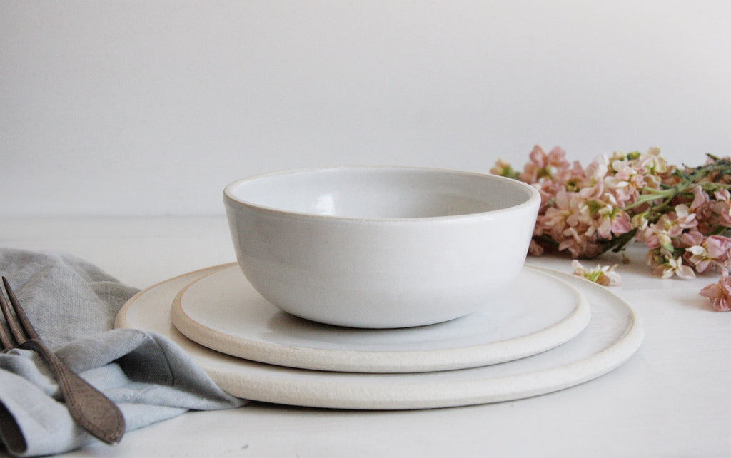 Dinnerware Set with Low Profile Bowl on Display in Classic White