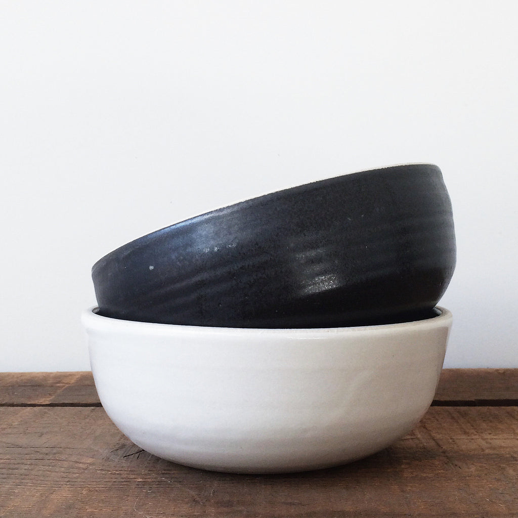 Black and White Stacked Stoneware Soup Bowls