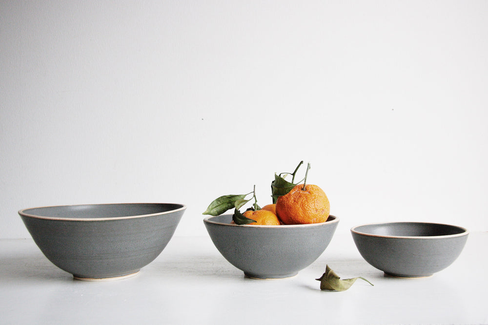 Silverlake Nesting Bowl Set in Charcoal Handmade Pottery