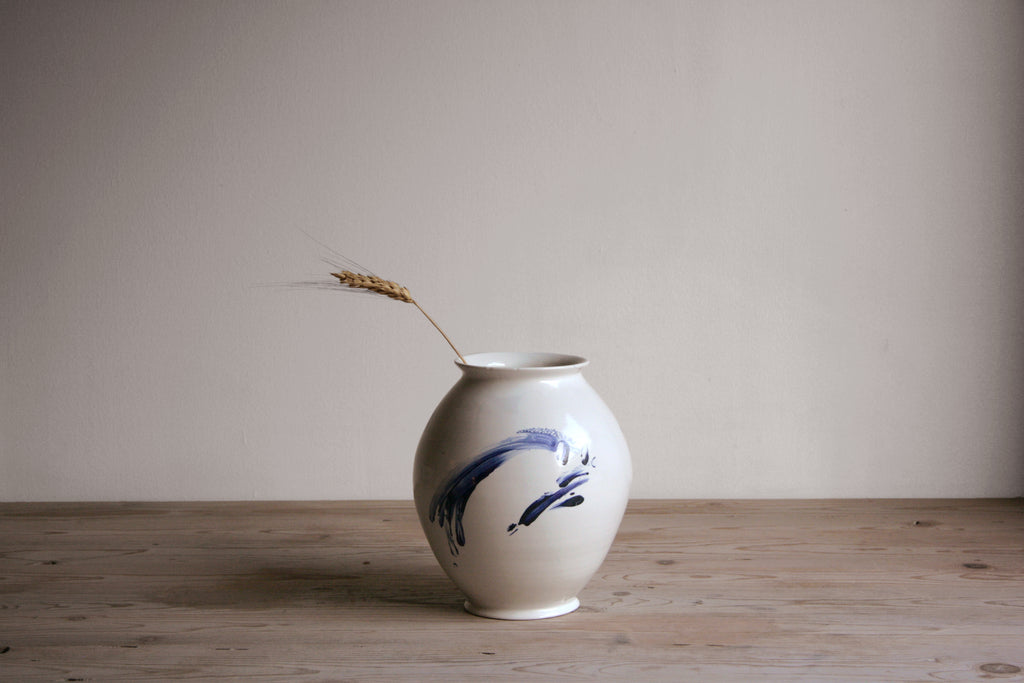 Cobalt & White Vase No. 5 - Flowers