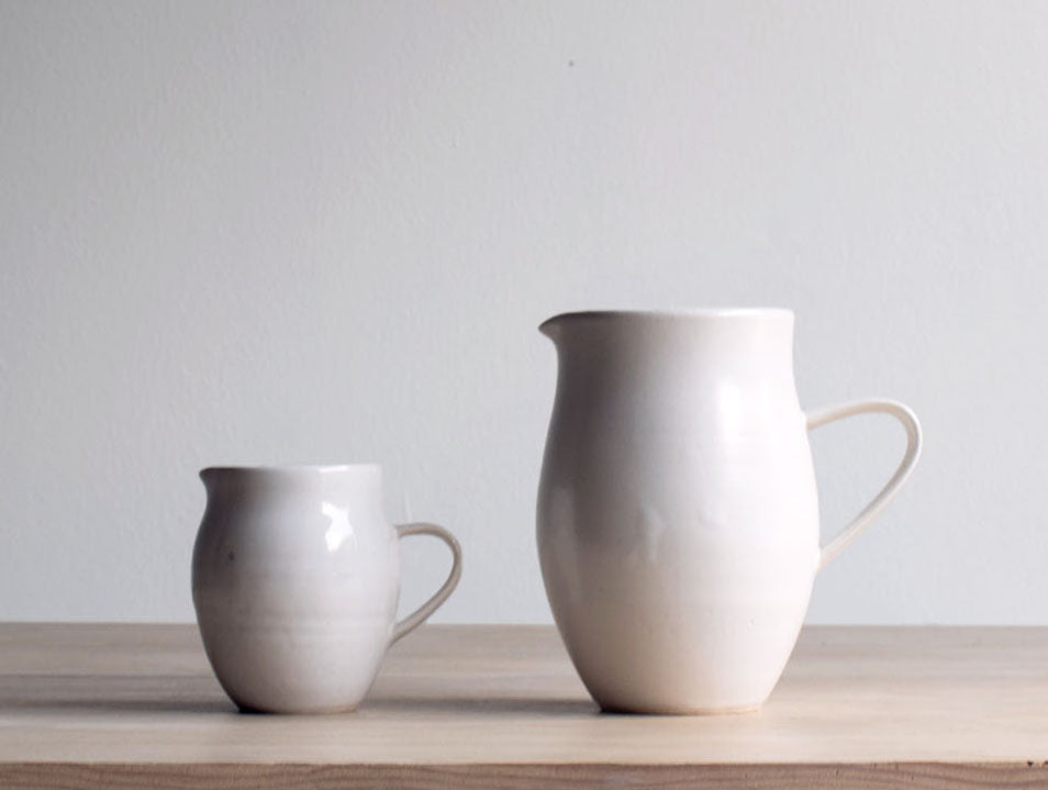Classic White Handmade Pottery Pitcher