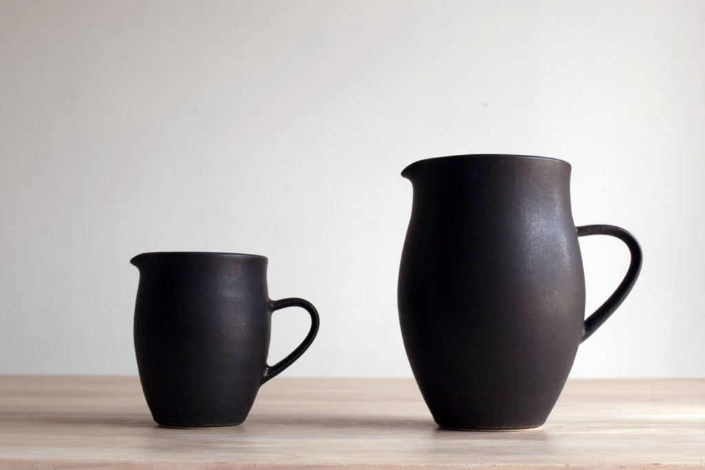 Farmhouse Satin Black Creamer Pottery