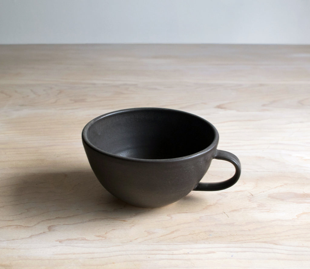 Satin Black Handmade Pottery Latte Cup