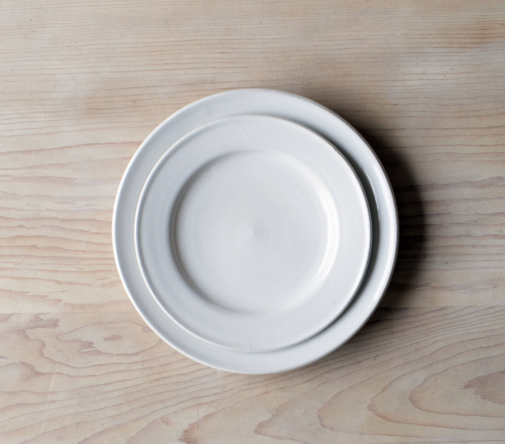 Classic White Farmhouse Pottery Plates