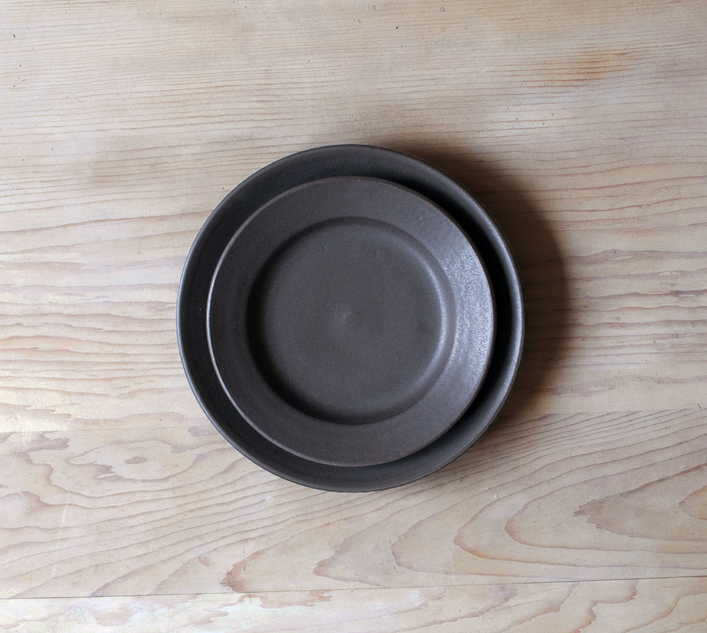 Satin Black Handmade Salad Plates