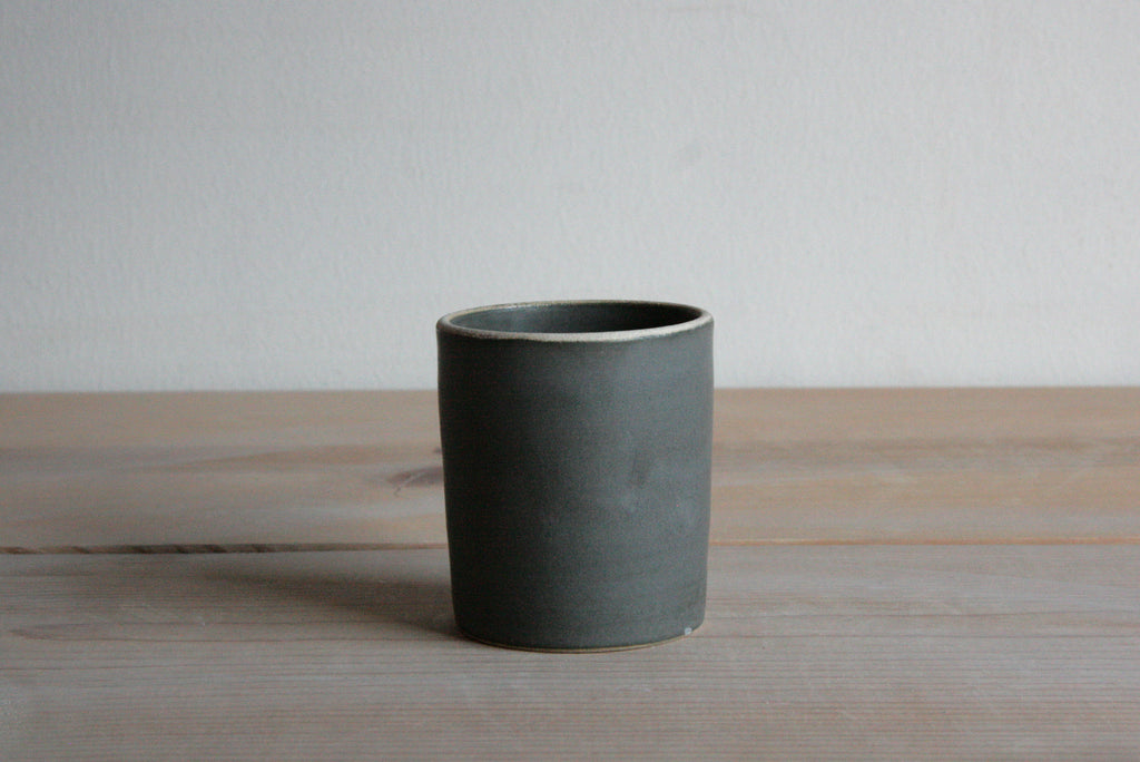 Charcoal Ceramic Stoneware Tumbler on Table