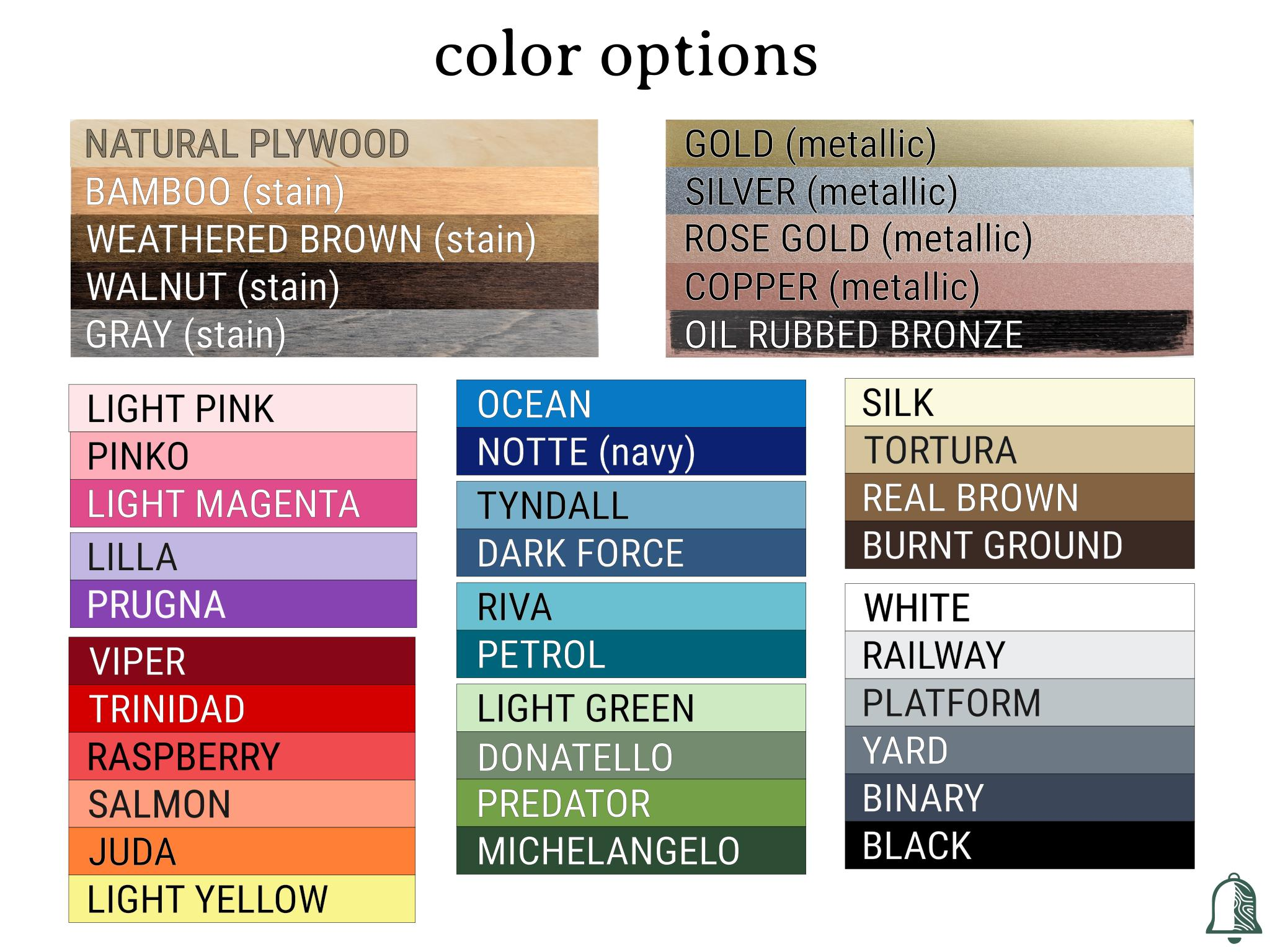 Color options offered by Bell and the Whistle