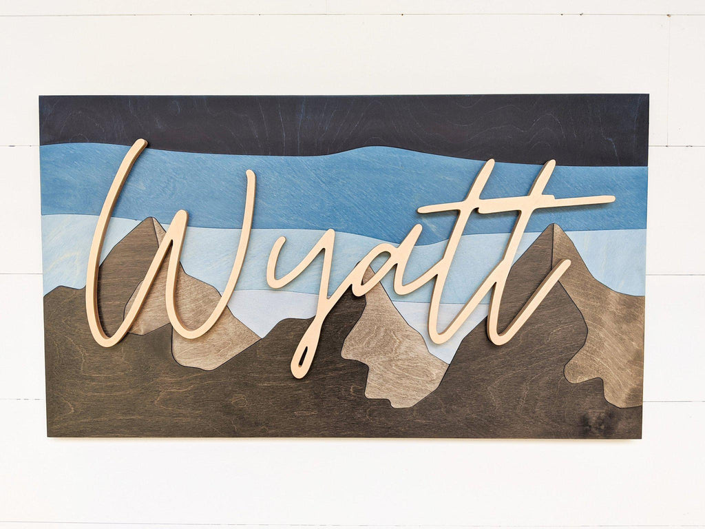 Name Sign - Wyatt Mountains Style