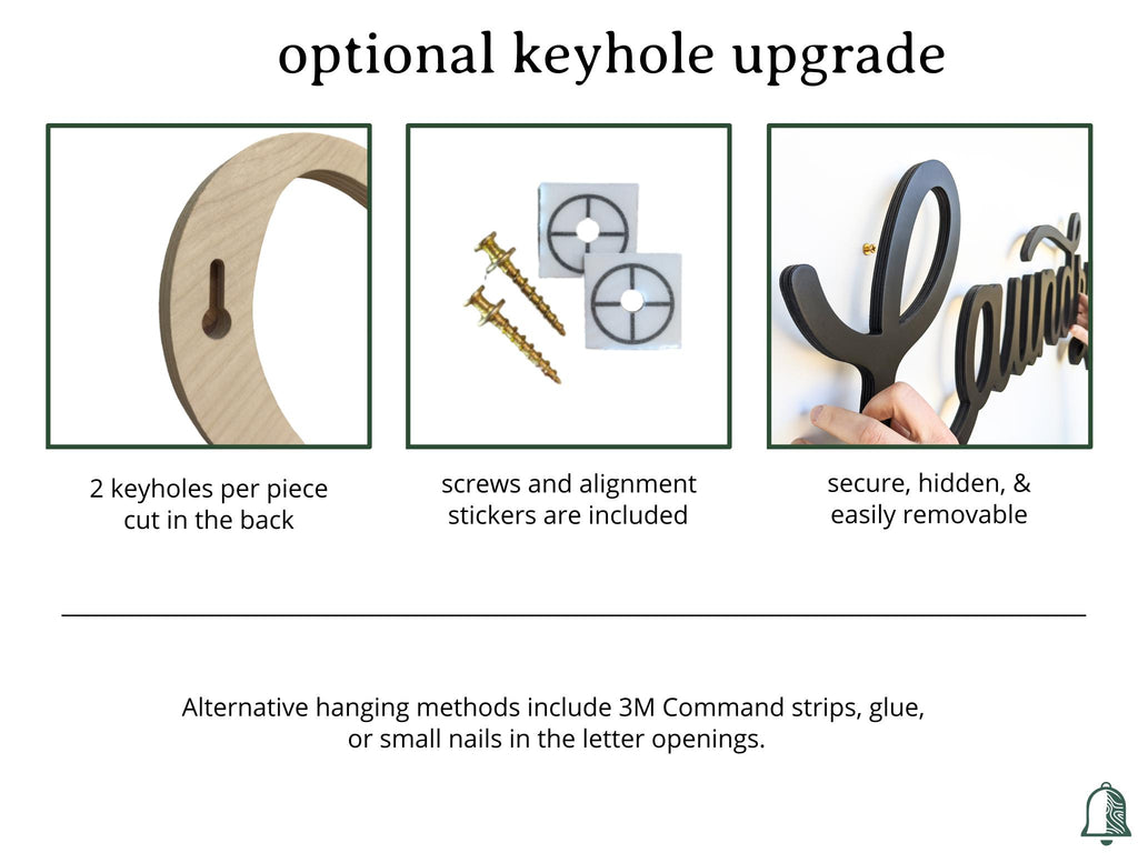 Description of the option to add keyholes to your product