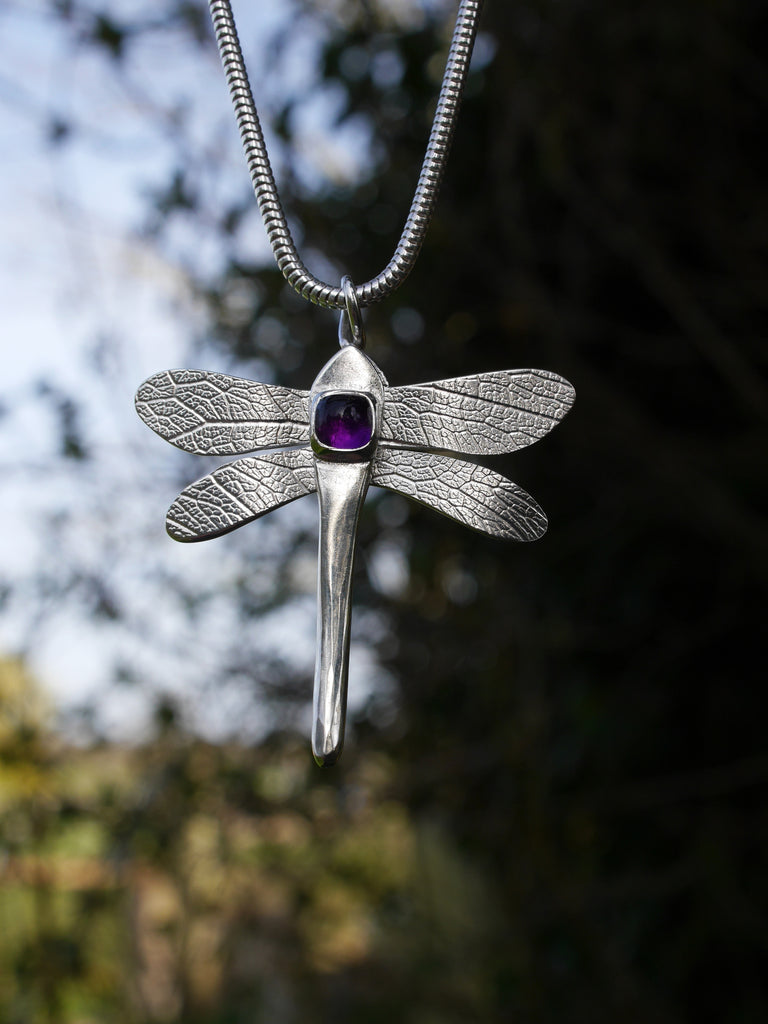 Finished Dragonfly pendant doing a 'tour' of the garden in the sunshine