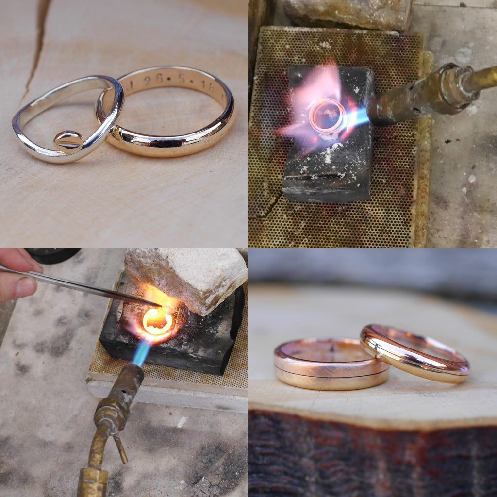 Making wedding rings from sentimental gold.