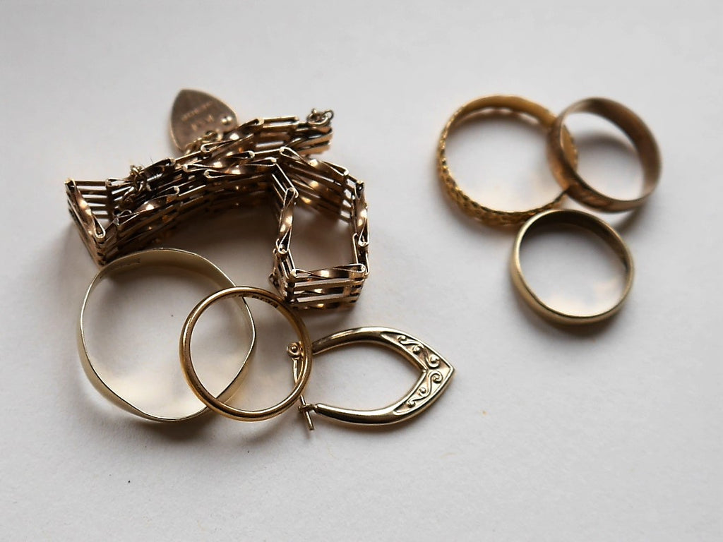 Old gold jewellery awaiting a new lease of life as new wedding rings.