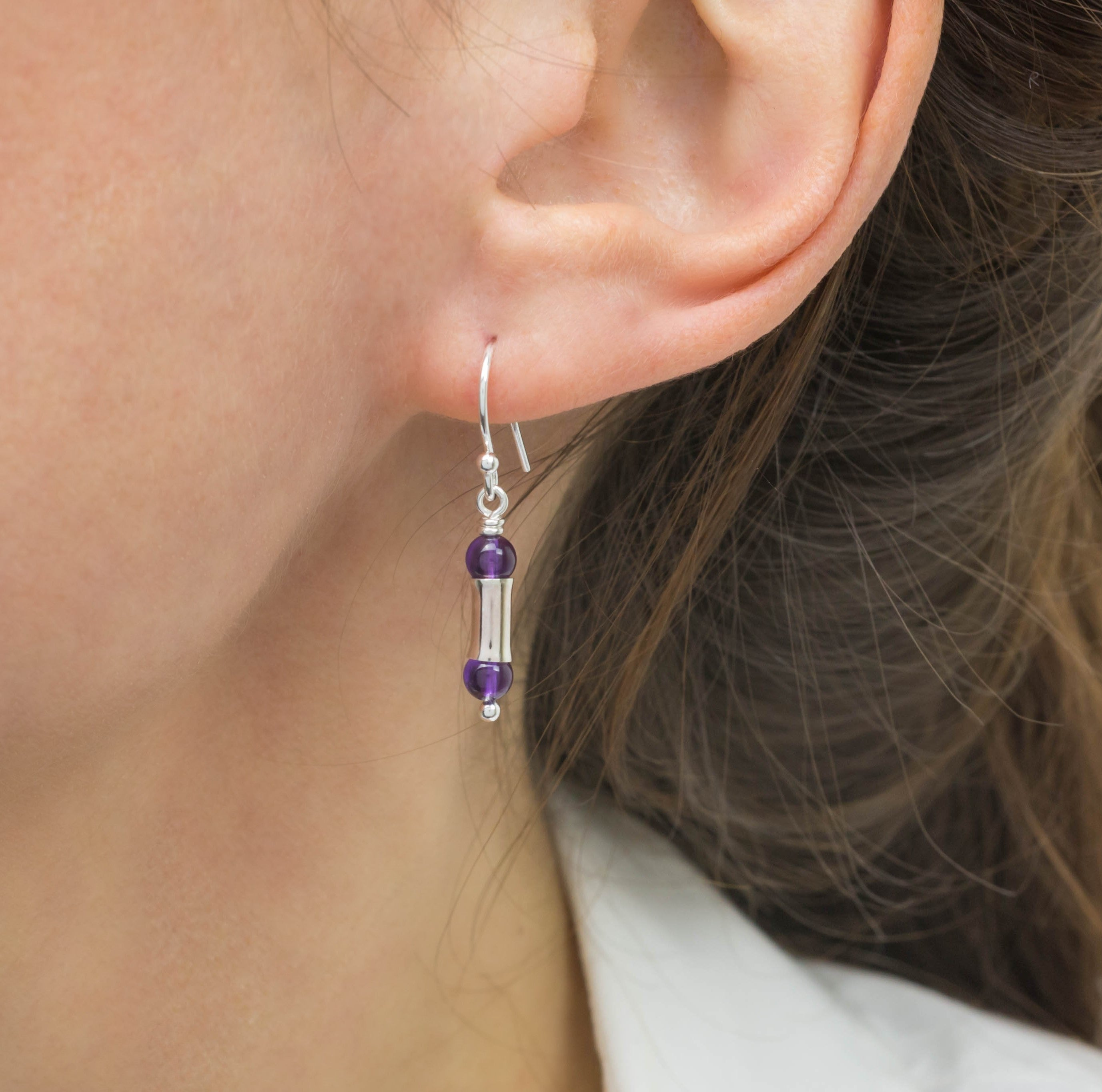 Amethyst Silver Bamboo Earrings, Short