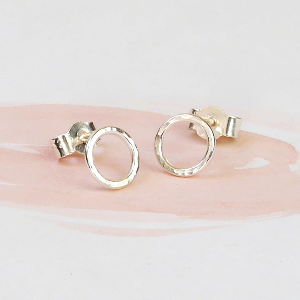 Hammered Silver Circle Stud Earrings, Petite
