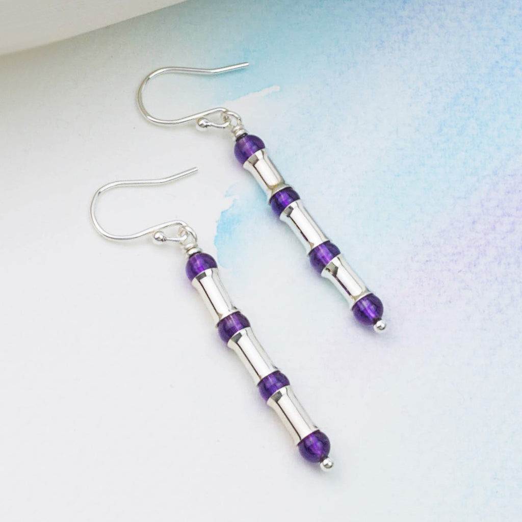 Amethyst Silver Bamboo Earrings, Long