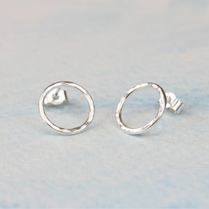 Hammered Silver Circle Stud Earrings, Small