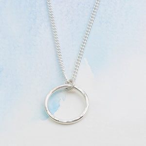 Hammered Silver Circle Pendant