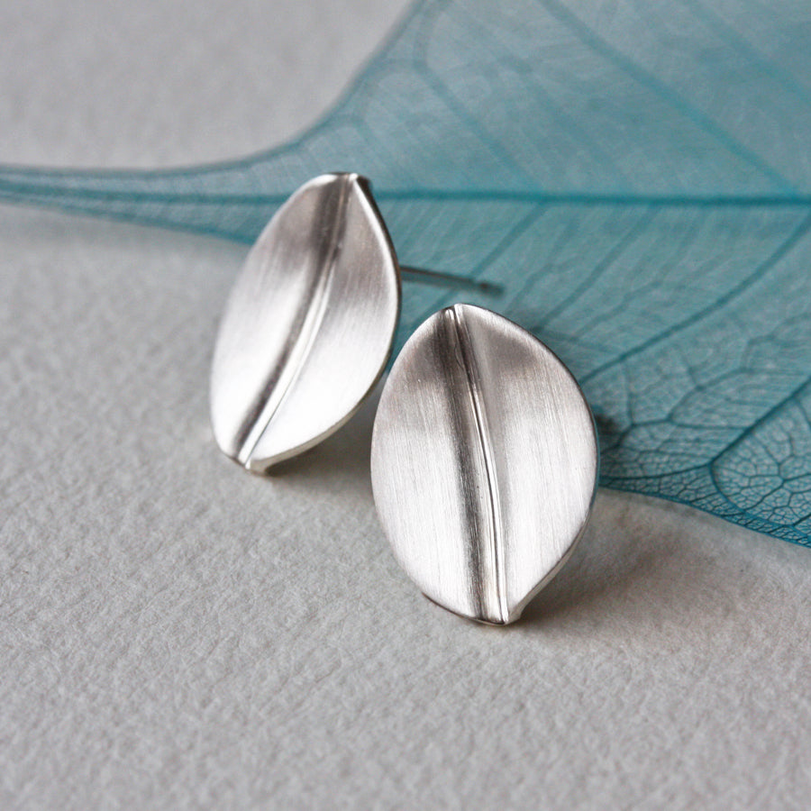 Brushed Silver Leaf Stud Earrings, Small
