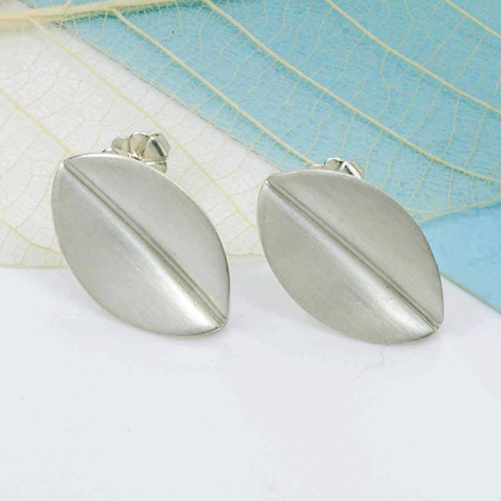 Brushed Silver Leaf Stud Earrings, Large