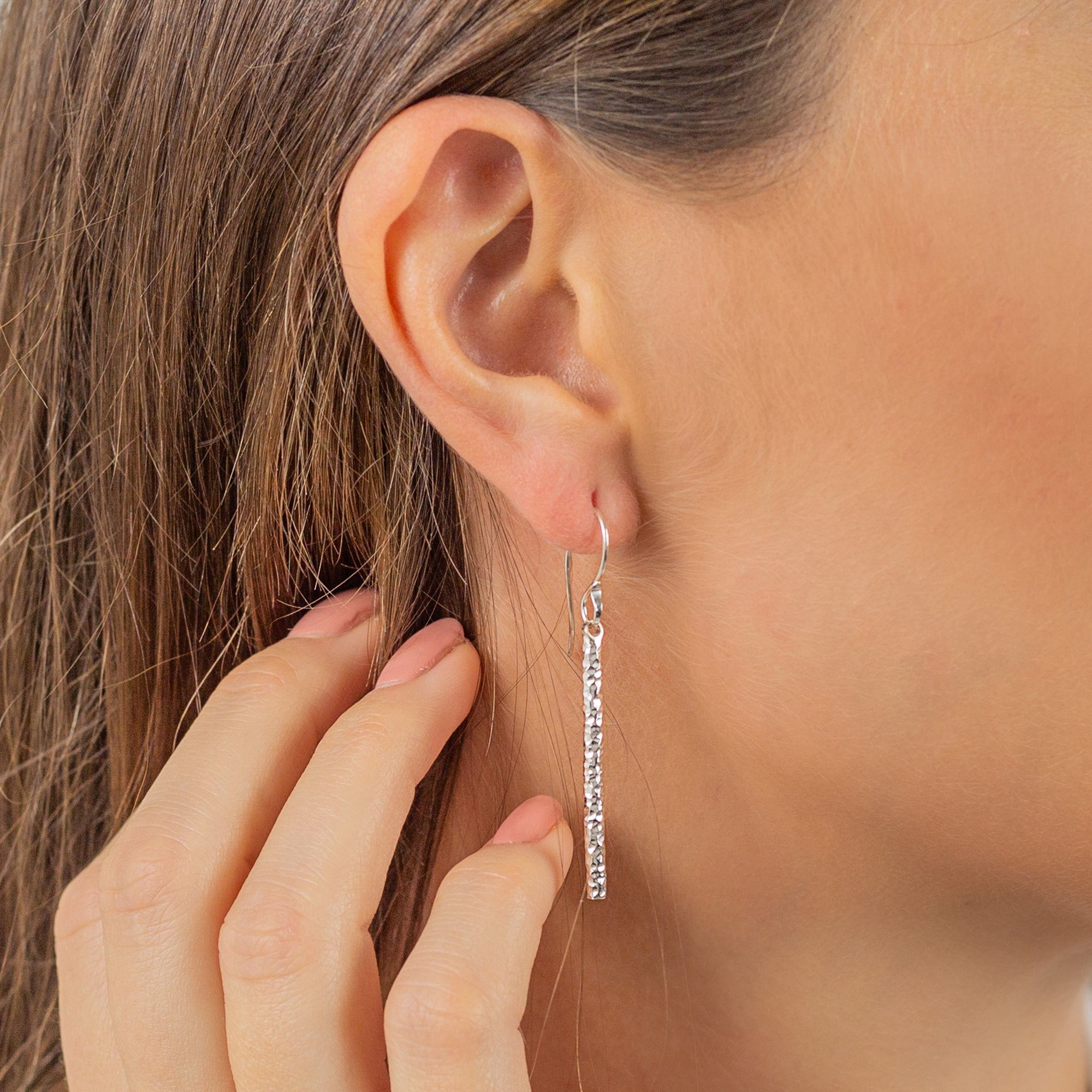 Hammered Silver Round Bar Drop Earrings