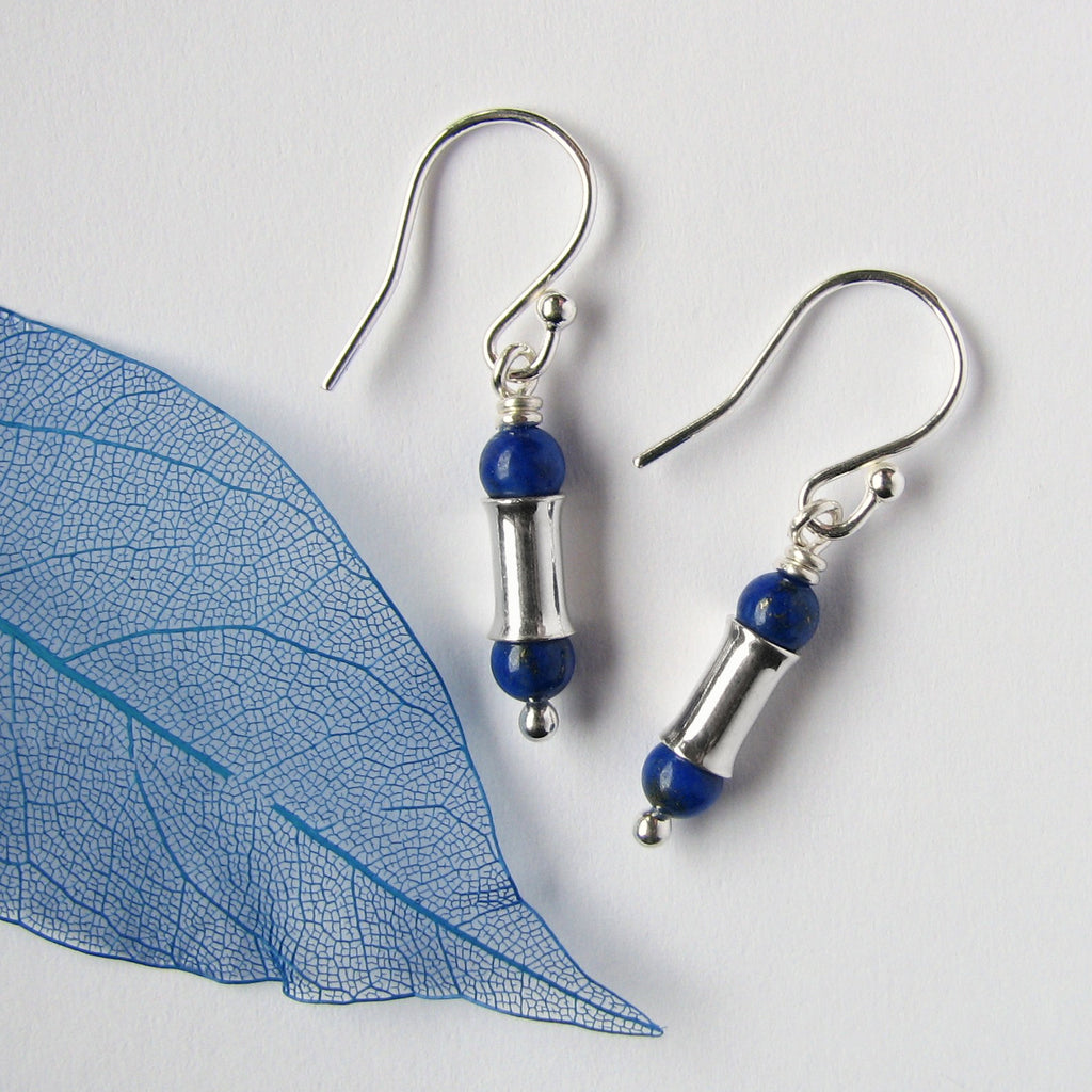 Lapis Lazuli Silver Bamboo Earrings, Short