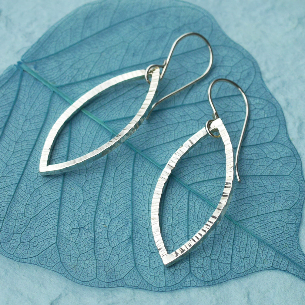 Hammered Silver Leaf Outline Earrings