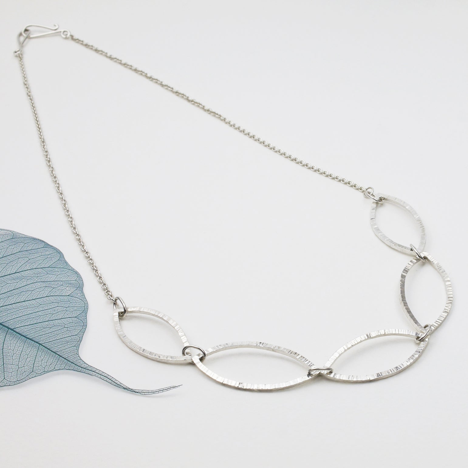 Hammered Silver Leaf Outline Necklace