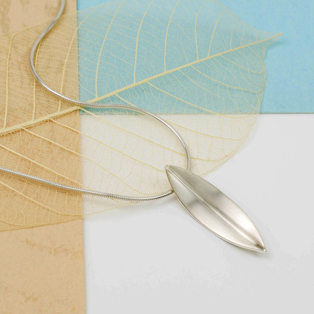 Brushed Silver Willow Leaf Necklace