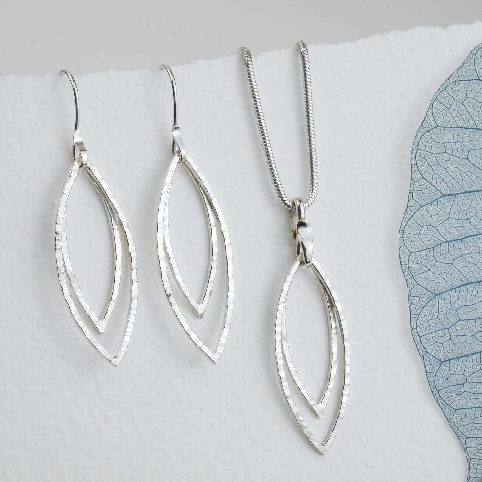 Hammered Silver Double Leaf Outline Pendant