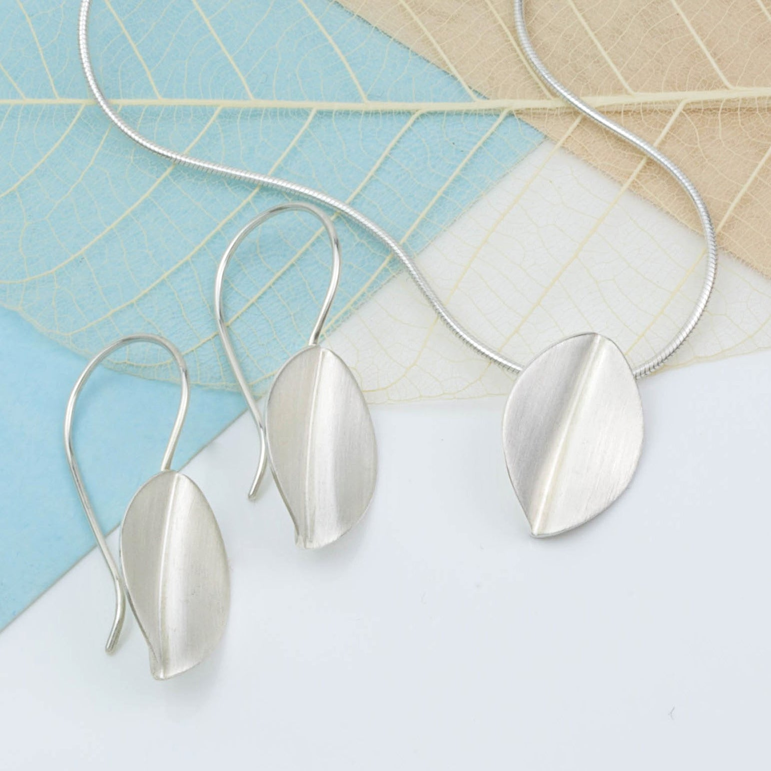 Brushed Silver Leaf Necklace