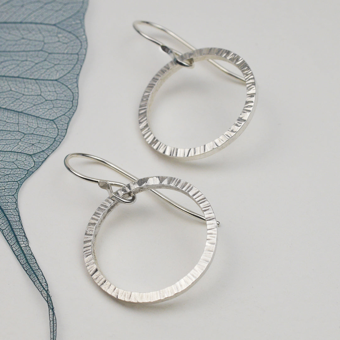 Hammered Silver Circle Drop Earrings