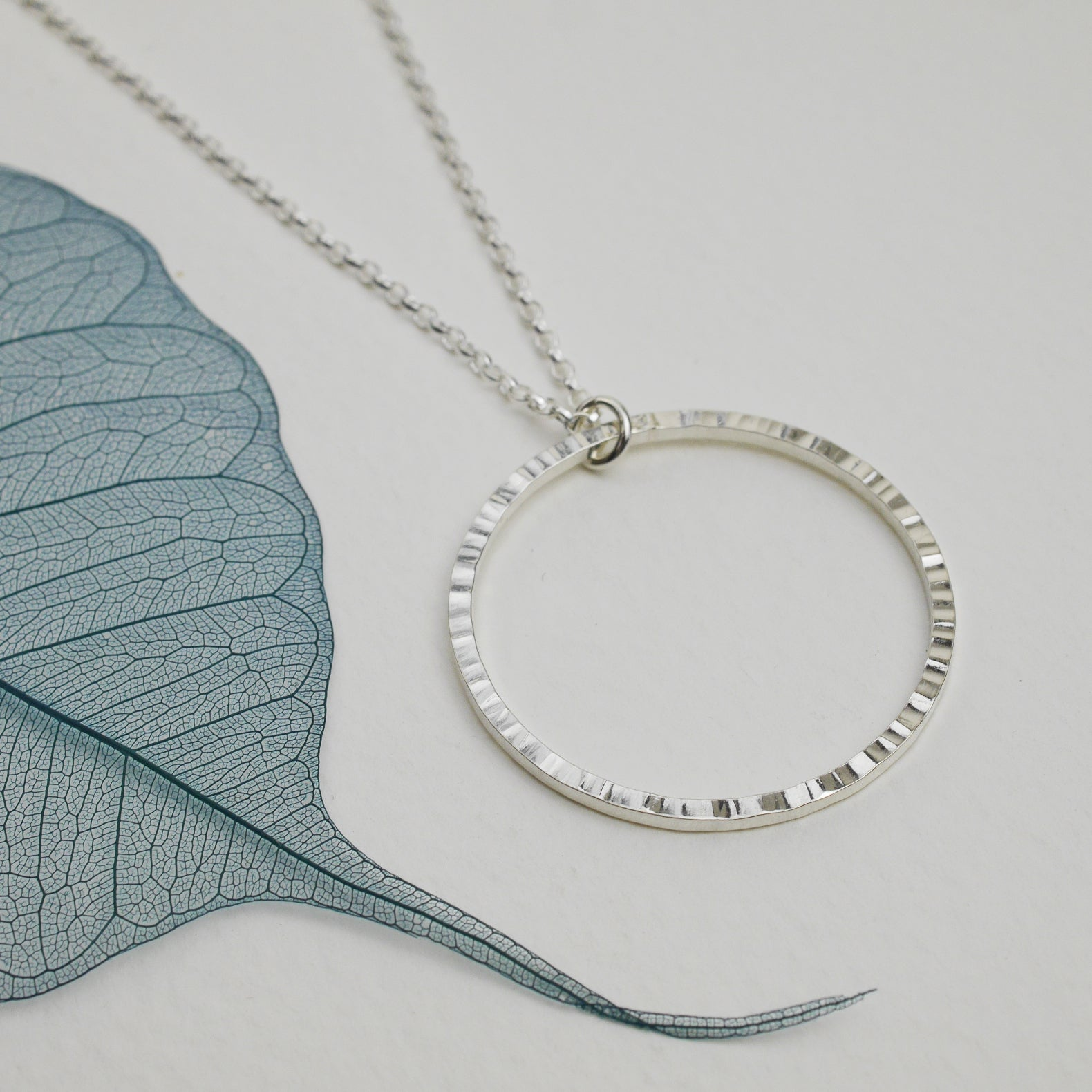 Hammered Silver Circle Necklace