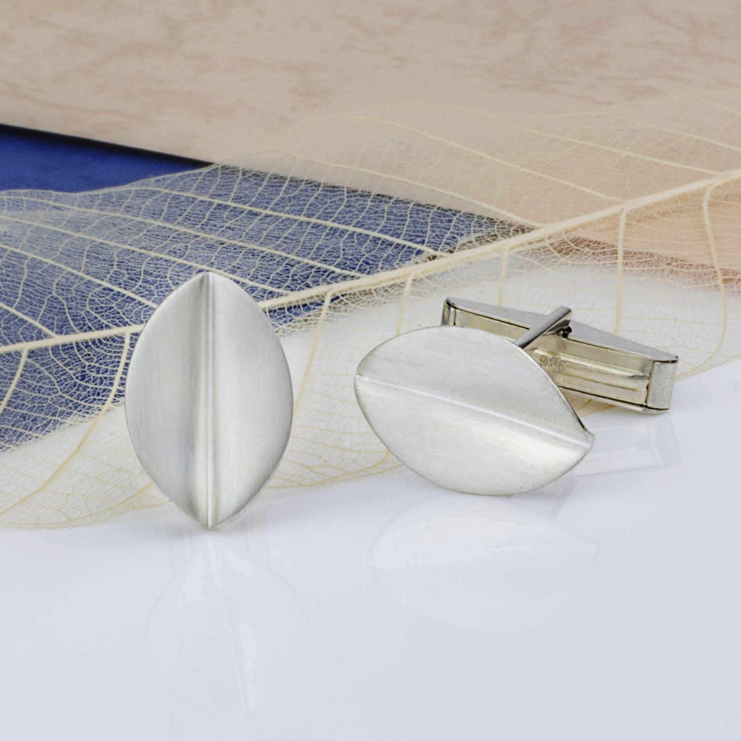 Brushed Silver Leaf Cufflinks